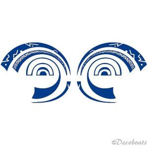 2 stickers Yeux Polynésiens bleu reflex