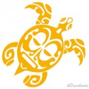 Sticker Tortue Maori jaune moutarde