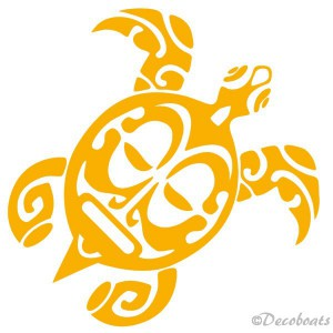 Sticker Tortue Maori jaune moutarde