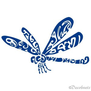 Sticker Libellule bleue reflex babord