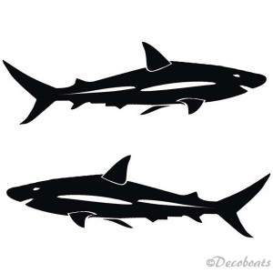 Lot de 2 grands stickers requins