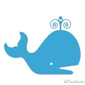 Sticker baleine bleu ciel