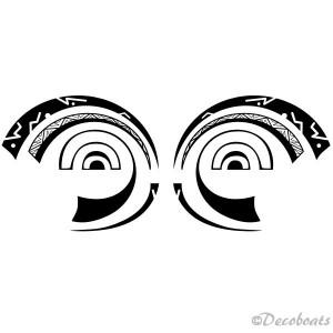 2 stickers Yeux Polynésiens noir