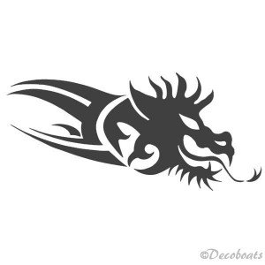 Sticker Dragon gris metal tribord