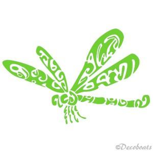 Sticker Libellule vert clair babord
