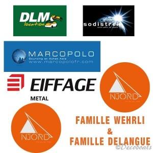 lot de 7 autocollants logos sponsors