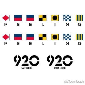 Lot de 2 autocollants Feeling et de 2 stickers 920 par Kirie