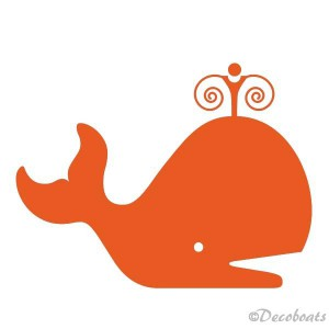 Sticker baleine orange