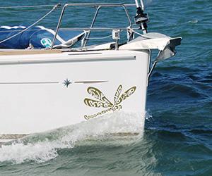Sticker libellule sur coque de voilier